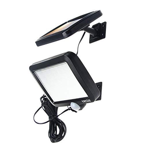 YAYZA! 1-Paquete Panel solar alimentado Luz de pared inalámbrica 56 LED 12W Dividir Separable Impermeable Seguridad al aire libre Sensor de movimiento PIR 1000 lm Iluminación blanco fresco para jardín