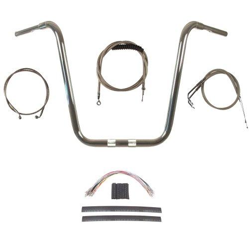 Hill Country Customs 1 1/4' Chrome 20' Ape Hanger Handlebar Kit for 2008-2011 Harley Dyna Fat Bob models