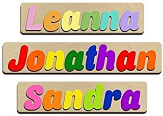 Jumbo Fonts Personalized Wooden Name Puzzles Child's Name, Custom Made Puzzle From Wood Word