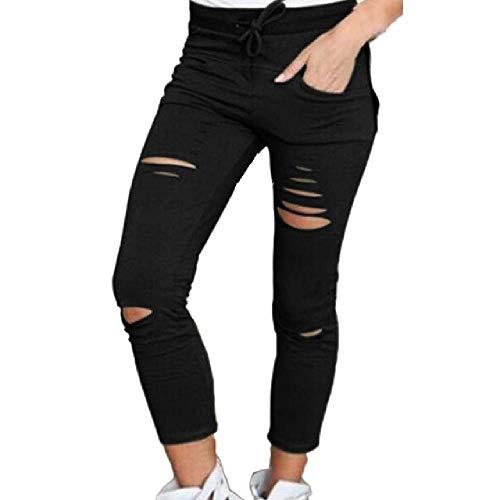 N\P Pantalones de Mezclilla Mujer Pantalones Pitillo de Corte Flaco Pantalones Vaqueros elásticos de Cintura Alta Pantalones de algodón con cordón Pantalones Delgados