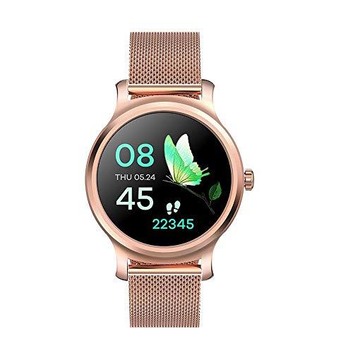 JIAJBG Reloj inteligente, pantalla redonda de alta definición de 1.28 pulgadas, IP67, impermeable, recordatorio de mensajes, pulsera multideportiva, para Android e iOS, moda, acero dorado