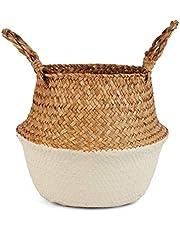 BlueMake tkany kosz na brzuch z trawy morskiej do przechowywania, pralni, pikniku, pokrywy doniczkowej i przechowywania zabawek