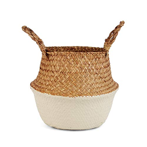 BlueMake Woven Seagrass Belly Basket for Storage, Laundry, Picnic, Plant Pot Cover, and Grocery and Toy Storage (Large, Sand)