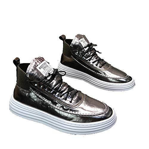 Zapatos de Plataforma para Hombre, Zapatos Gruesos de Punta Redonda de Color sólido con Parte Superior de Encaje, Zapatos Casuales de Cuero de PU, Zapatillas de Moda de Estilo Simple