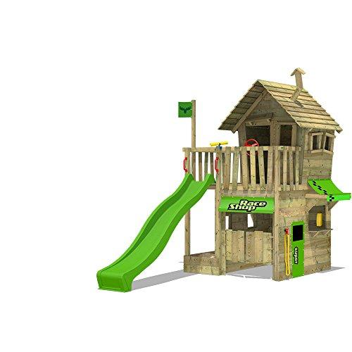 FATMOOSE Kletterturm RebelRacer Super XXL Spielturm Baumhaus Spielgerät Garten mit apfelgrüner Rutsche
