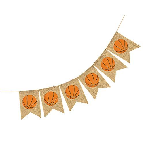 PRETYZOOM Baloncesto Colgante Banner Lino Fiesta Deportiva Banderines Colgando Guirnalda Decoraciones de La Bandera Cumpleaños Baby Shower Tema Deportivo Decoraciones para Fiestas