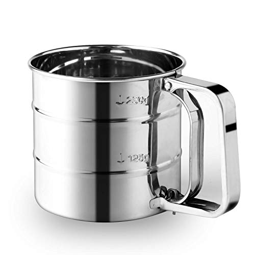 Flour Sifter, Premium Stainless Steel Baking Sieve, One-Handed Operation Sieve Cup with Measuring Scale Mark for Powder, Sugar (Small)