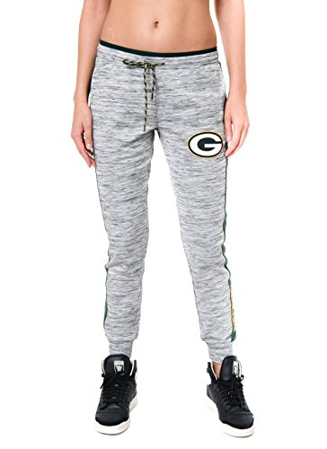 Ultra Game NFL Green Bay Packers Womenss Active Basic Fleece Jogger Sweatpants, Gray Space Dye, X-Large
