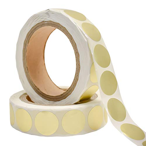 """Gold Round Stickers, 1-Inch, """"1000 Stickers Per 1 Roll"""", Color Dot Labels, Multi-Purpose Self-Adhesive Best for Personal or Professional Use and Etc."""