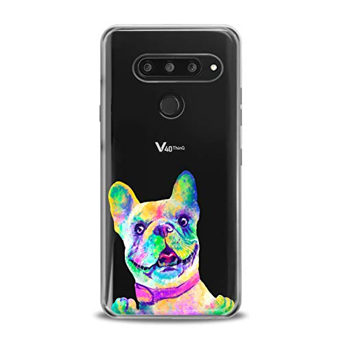 Lex Altern TPU Case Compatible with LG G8 Stylo 6 5 K62 K11 G7 ThinQ G6 K42 V35 V50 French Bulldog Smooth Print Colored Dog Design Slim fit Soft Art Funny Animal Cover Clear Lightweight Girls Paw