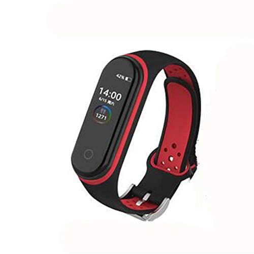 AKDSteel Double Color Round Holes Watch Band with Buckle Wrist Strap Replacement Wristband for X-iaomi MI Band 4 Black red