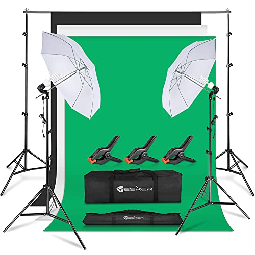 Yesker Photography Lighting Umbrella Kit, 6x9ft Muslin Backdrops (White Black Green Screen Kit), 8.5x10ft Background Support System Continuous Lights Equipment for Portrait Photo Video Studio Shoot