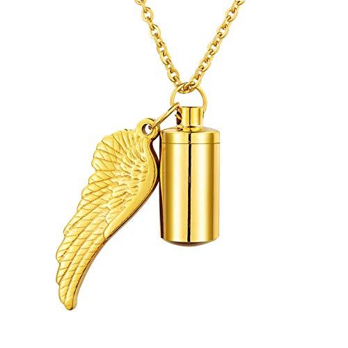 HooAMI[ホーアムアイ] メモリアルペンダント 遺骨カプセル ネックレス キーホルダー両用 ステンレス レディース メンズ ジュエリー 天使の翼 ゴールド-2.7cmx1.1cm