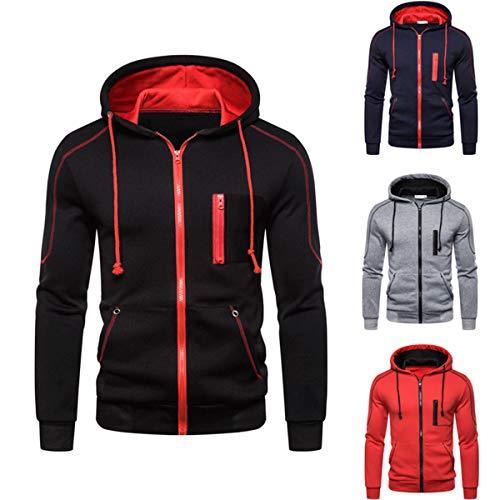 Borlai - Sudadera con capucha para hombre, con cierre de cremallera, manga larga, ideal para otoño e invierno, tallas: M/L/XL/XXL/3XL Negro Negro ( XL