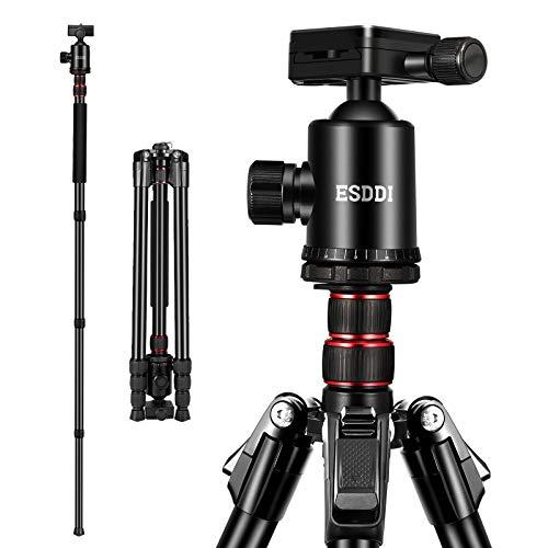 Kamera Stativ, ESDDI 200 cm Aluminiumlegierung Stativ mit 360° Panorama Kugelkopf und Einbeinstativ, 1/4 Schnellwechselplatt undStativtasche für Canon Nikon Sony Spiegelreflexkamera Last bis zu 12kg