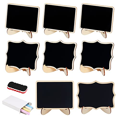 KAKOO Juego de 20 mini pizarras de madera, pizarras para notas con pies como tarjetas de mesa, nombres, premio, cartel para buffet, fiesta, decoración vintage para bodas