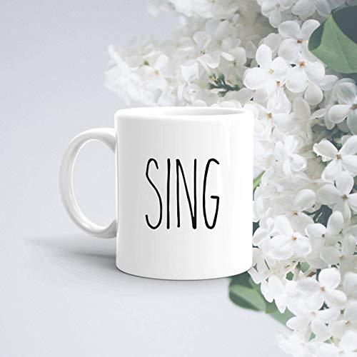 Creamic Mug Sing Mug Rae Dunn inspirierte Tasse Geschenk für Sänger Sing Geschenk Sing Tasse Perfektes Geschenk für jemanden, der es liebt, Kaffeetasse Geschenk ^ A3