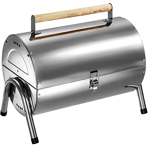 TecTake BBQ Grill portable rust-free stainless steel 2 grill areas charcoal barbecue silver