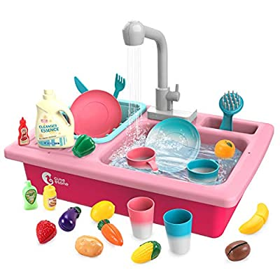 CUTE STONE Play Kitchen Sink Toys,Electric Dishwasher Playing Toy with Running Water,Upgraded Automatic Faucets and Color Changing Accessories, Role Play Sink Set Gifts for Kids Boys Girls Toddlers by Cute Stone