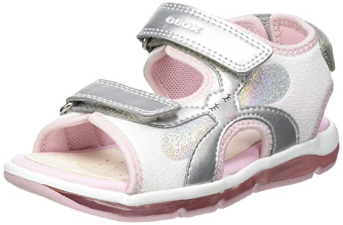 Geox B Sandal Todo Girl A, Scarpe Primi Passi Bimba 0-24, Silver/Pink, 20 EU