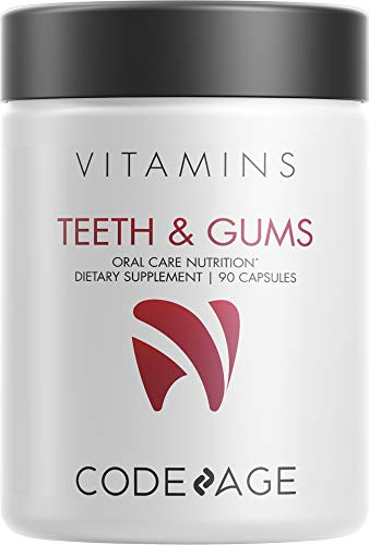 Codeage Teeth & Gums Vitamins + Oral Probiotics Supplement for Mouth - Whole Food Calcium, Collagen, Magnesium, Vitamin C, D3, K2, Zinc – Oral Care & Dental Multivitamin Supplements - 90 Capsules