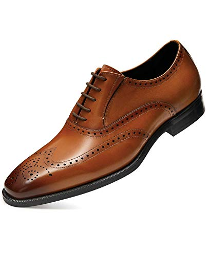 FRASOICUS Men's Dress Shoes with Genuine Leather in Classic Brogue Elastic Band Oxford Formal Shoes for Men12 Brown