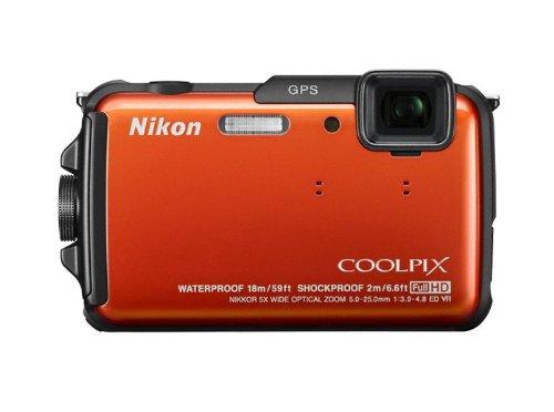 Nikon Coolpix AW110 Outdoor-Digitalkamera (16 Megapixel, 5-fach opt. Zoom, 7,6 cm (3 Zoll) OLED-Display, wasserdicht bis 18 m, stoßfest bis 2 m, kälteresistent bis -10 Grad, Wi-Fi, GPS, elektronischer Kompass, Weltkarte, Geotagging) orange