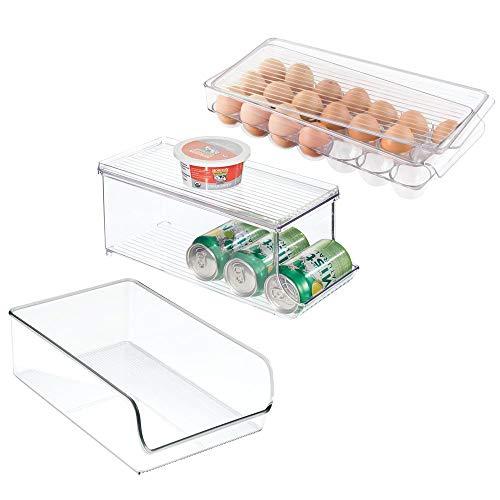 mDesign Juego de 3 organizadores de Cocina – Caja de plástico Abierta, huevera y Recipiente para latas con Tapa para Nevera y congelador – Prácticos contenedores plásticos de Cocina – Transparente