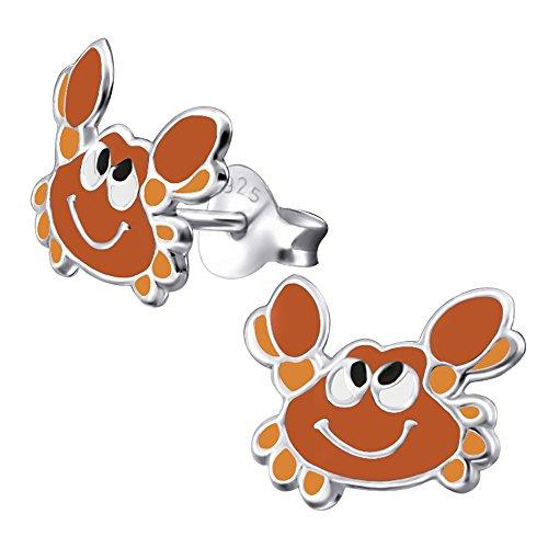 Laimons Kids Orecchini a pressione per bambini gioielli per bambini Granchio Rosso, Marrone Argento Sterling 925