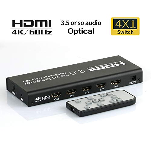 4K@60Hz 4 Port HDR HDMI 2.0 Audio Extractor with remote 4x1 HDMI switcher 3 in 1 out Audio Separator ARC Extractor Distributor /UHD/ HDCP2.2 3840*2160P