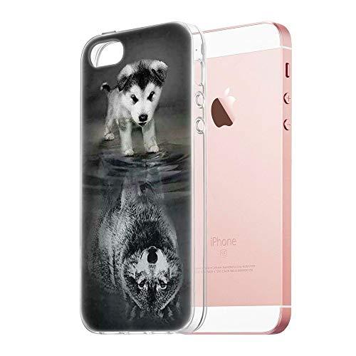 Pnakqil Coque iPhone Se / 5s / 5, Etui en Silicone 3D Transparent avec Motif Fun Design Anti Choc TPU Housse de Protection Couverture arrière Case Cover Coque pour Apple iPhoneSE, Chien Loup