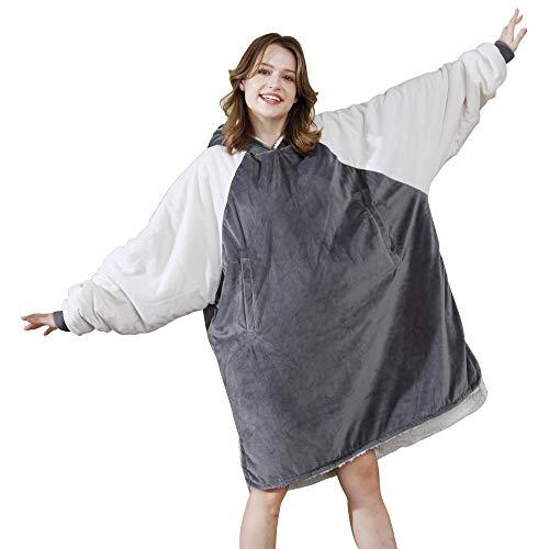 Winthome Das Sherpa Fluffle Decke/Sweatshirt, Warm, weich, gemütlich. Reversibler Großer Fleecedecken-Hoodie. Einheitsgröße (grau)