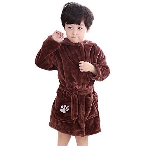Icegrey Enfants Peignoir De Bain Molleton pour Fille et Garçon Robe Pyjamas Marron 8-9 Ans 14