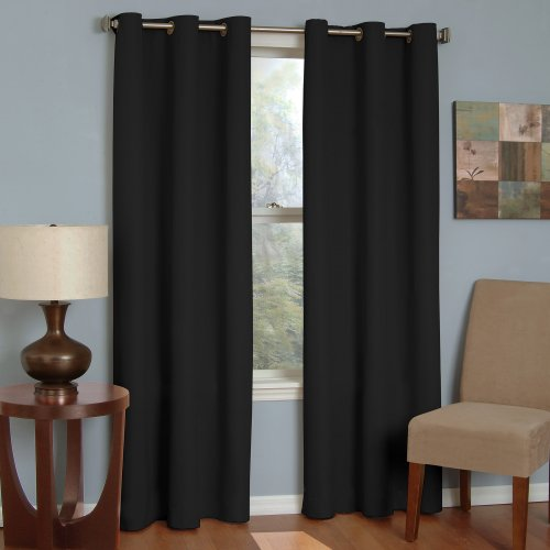"""ECLIPSE Microfiber Thermal Insulated Single Panel Grommet Top Darkening Curtains for Living Room, 42"""" x 63"""", Black"""