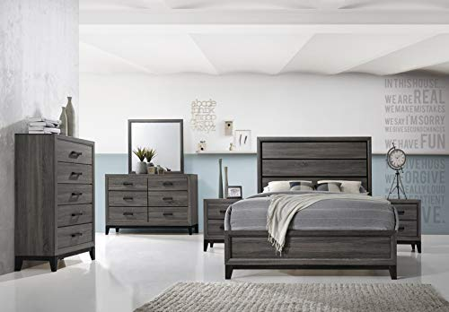 Kings Brand Furniture – Ambroise 6-Piece Queen Size Bedroom Set, Grey/Black. Bed, Dresser, Mirror, Chest & 2 Night Stands