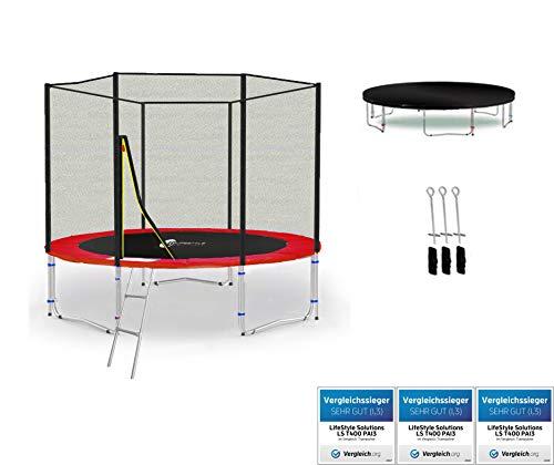 LifeStyle ProAktiv LS-T245-PA08 (R) Garten- Trampolin 245cm - 8ft - (Rot) Extra Starkes Sicherheitsnetz - 150kg Traglast