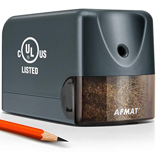 AFMAT Electric Pencil Sharpener Heavy Duty, Classroom Pencil Sharpener for 6.5-8mm No.2/Colored Pencils, UL Listed Professional Pencil Sharpener w/Stronger Helical Blade, Gray
