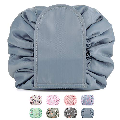Portable Lazy Drawstring Makeup Bag Travel Cosmetic Bag Pouch Toiletry Organizer Waterproof Large for Women and Girls (Greyish Blue-1)