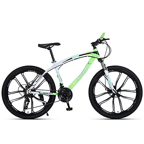 Bicicleta De Montaña Adulta, Freno De Disco Absorbente De Choque, 26 Pulgadas / 24 Pulgadas, Carro De Estudiante De Bicicleta De Montaña-Verde Negro (Diez Cuchillos)_24 Pulgadas 24 Velocidades,