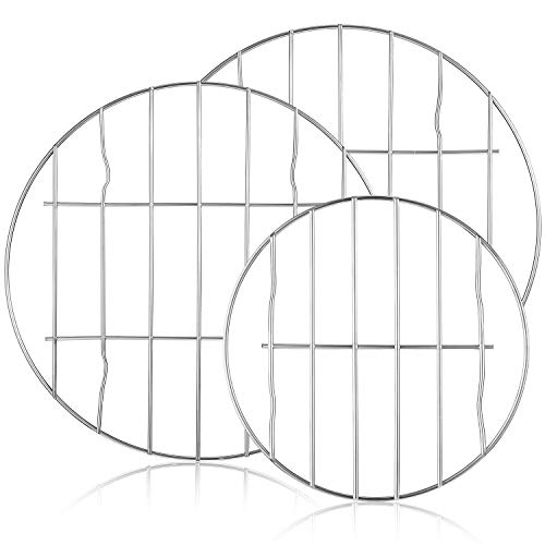 3 Pieces Round Cooling Cooking Racks Stainless Steel Round Steaming Baking Rack Multipurpose Baking Racks for Canning Air Fryer and Pressure Cooker, Dishwasher Safe, 9.8 Inch, 5.9 Inch
