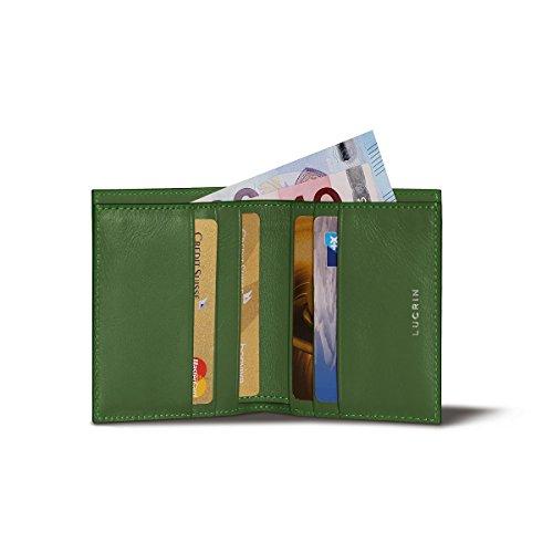 Lucrin PM1192_VCLS_VTC - Tarjetero de Piel (Acabado Liso), Color Verde Claro