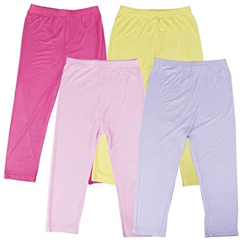 Omigga 4 Pieces Girls Capris Leggings Cotton Cropped Leggings School Uniform Pants for Girls (3T-4T)