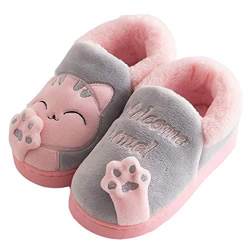 Zapatillas de Estar por Casa para Niño Niña Zapatos Pantuflas Invierno Mujer Hombre Interior Caliente Peluche Forradas Slippers, Gato Gris, 30/31 EU