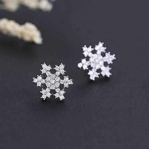 LLL Orecchini a Lobo Naturali Geometrici delle Donne S925 Orecchini a Lobo Pieno di Diamanti con Fiocco di Neve in Argento, Bianca