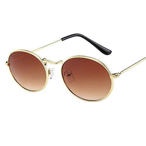 VJGOAL Gafas de sol mujer ovaladas Gafas de montura metálica de elipse de moda vintage para mujer