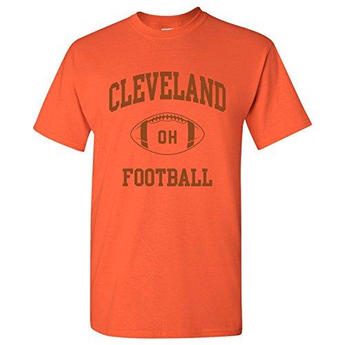 Cleveland Classic Football Arch Basic Cotton T-Shirt - Large - Orange
