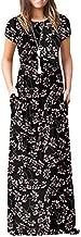 VIISHOW Women's Short Sleeve Floral Dress Loose Plain Maxi Dresses Casual Long Dresses with Pockets(Floral Gypsophila Black 3X-Large)