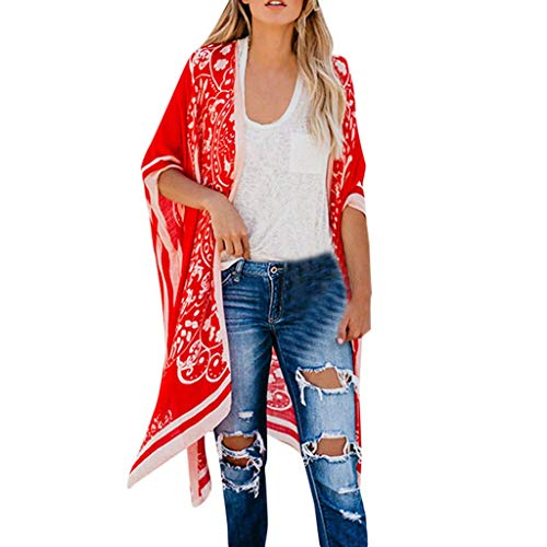Xucherry Cardigan Womens Printed Style Long Beach Coat Loose Cardigan Bikini Blouse Sun Protection Shirt