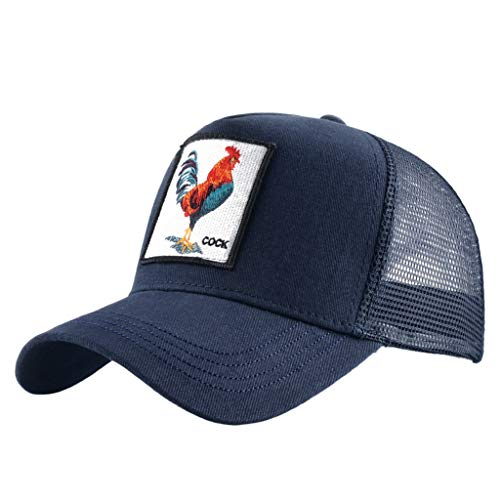 Unisex Animal Mesh Trucker Hat Strapback Square Patch Baseball Caps (One Size, Blue Cock)