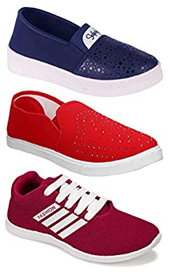 Shoefly Women's (5048-779-5030) Multicolor Casual Sports Running Shoes (Set of 3 Pair)